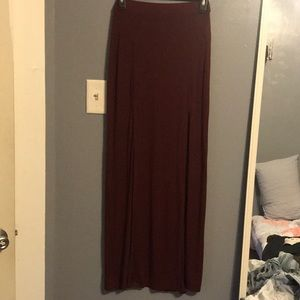 Forever 21 maroon maxi skirt with slits
